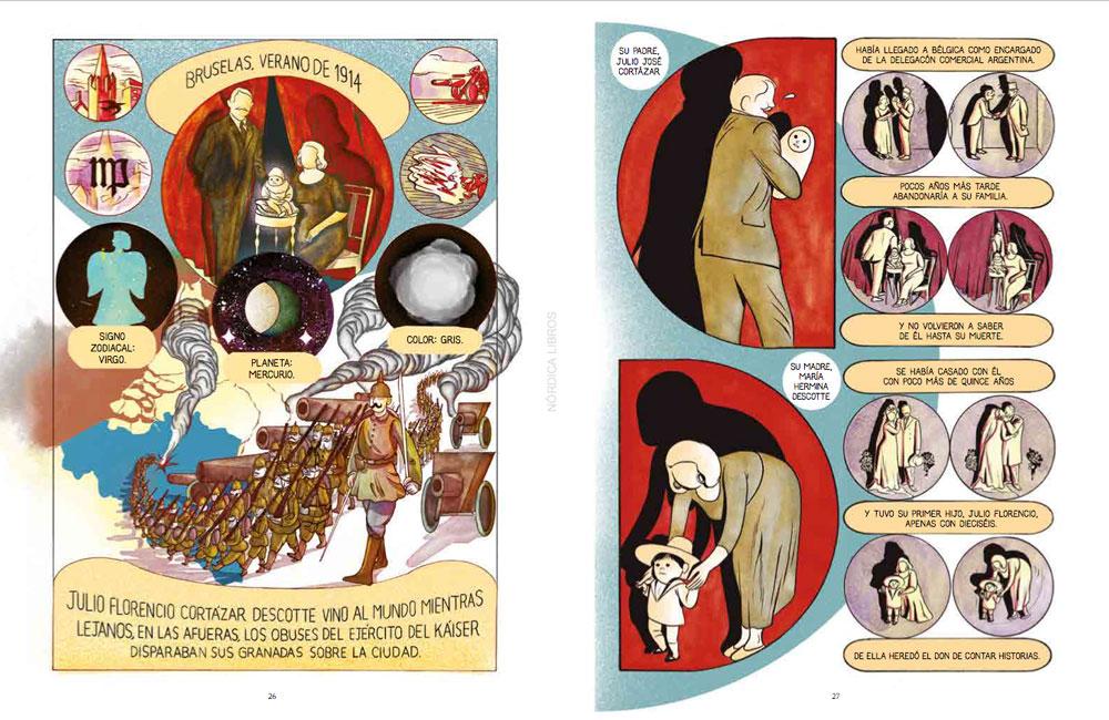 Páginas interiores de la novela gráfica Cortázar.