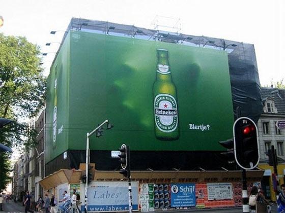 Publicidad exterior, creatividad impactante.Heineken, Símbolo Ingenio Creativo