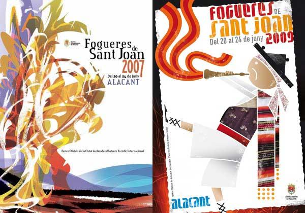 Carteles de Hogueras de 2007 y 2009