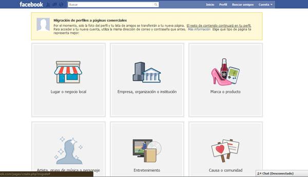 Migración de usuario privado a página comercial