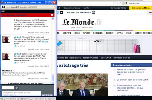 Live Blogging en Le Monde